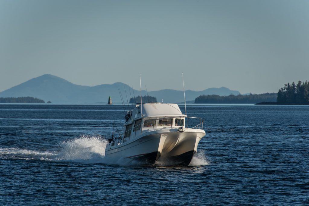Offshore outboard powered catamaran charter boat